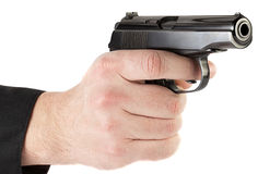 Makarov gun. Makarov pistol in his hand aimed at the enemy stock photography