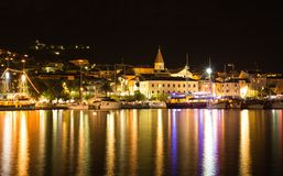 Makarska, beautiful night landscape cityscape, Croatia Stock Photo
