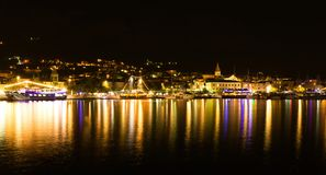 Makarska city in the night, popular Croatian resort Royalty Free Stock Photo