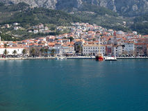 Makarska city from the sea Stock Photography