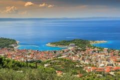 Makarska the famous resort in Croatia,Dalmatia,Europe. Panorama of Makarska and Adriatic sea,Brac Island in background Royalty Free Stock Photos