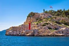 Makarska-Klippengehweg durch die Seeansicht Lizenzfreies Stockbild