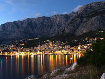 Makarska at night. View of Makarska city, famous resort in Dalmatia, Croatia royalty free stock photos