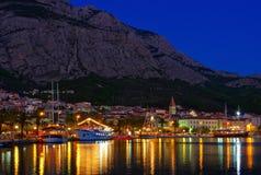 Makarska night Stock Images