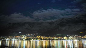 Makarska by night in summer 2015, time lapse stock footage