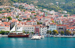 Makarska old city center and harbor Royalty Free Stock Photo