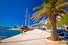 Makarska palm waterfront colorful view Royalty Free Stock Photos