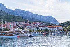 Makarska-Panorama Stockfotografie