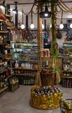 Local products at gourmet food shop in Croatia. Makarska resort, Croatia, 2017: indoor view of the local wine, oil and gourmet food shop royalty free stock images