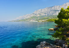 Makarska Riviera. Beautiful beach in Makarska Riviera, Tucepi in Dalmatia Royalty Free Stock Photography