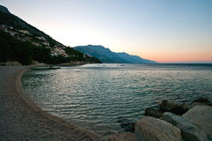 Makarska Riviera.Wiev from beach. Royalty Free Stock Photos