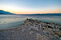 Makarska Riviera.Wiev from beach. Royalty Free Stock Photo