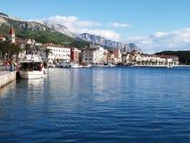 Makarska settlement of Croatia. View of Makarska embayment in Croatia stock photos