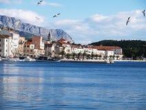 Makarska settlement in Croatia. View of Makarska embayment in Croatia stock photo