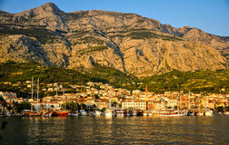 Makarska at sunset Stock Images