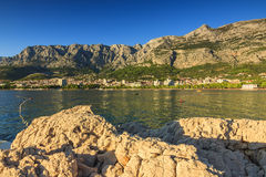 Makarska town and Biokovo mountains in background,Dalmatia,Croatia Stock Image