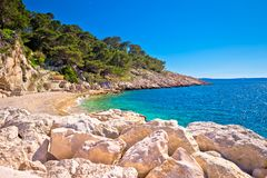 Makarska turquoise beach at sunny day view stock photography