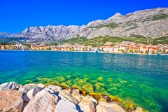 Makarska turquoise waterfront and Biokovo mountain view Stock Image