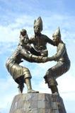 Makassar landmark. Sculpture traditional sepak takraw players in the courtyard of the beach Losari, Makassar Indonesia Stock Photos