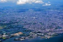 Makassar stad från himlen Arkivfoton