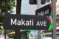 Makati Avenue. MANILA, PHILIPPINES - DECEMBER 7, 2017: Makati Avenue in Makati City, Metro Manila, Philippines. Metro Manila is one of the biggest urban areas in royalty free stock image
