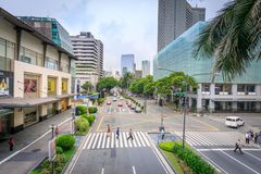 Makati avenue near Greenbelt and Glorietta shopping mall on Sep. 4, 2017 in Metro Manila, Philippines- Cityscape royalty free stock images