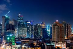 Makati city of Manila. At night with skyscreapers royalty free stock image