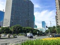MAKATI FILIPINY, LIPIEC, - 19, 2015: Makati miasto, Manila Makati jest centrum finansowym fotografia royalty free