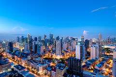 Makati skyline (Manila - Philippines). Elevated, night view of Makati, the business district of Metro Manila Royalty Free Stock Images