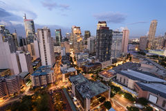Makati skyline (Manila - Philippines). Eleveted, night view of Makati, the business district of Metro Manila royalty free stock images