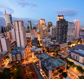 Makati skyline (Manila - Philippines). Eleveted, night view of Makati, the business district of Metro Manila stock image