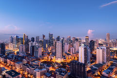 Makati skyline (Manila - Philippines). Eleveted, night view of Makati, the business district of Metro Manila royalty free stock photo
