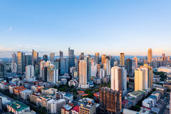Makati skyline (Manila - Philippines). Eleveted, night view of Makati, the business district of Metro Manila stock photos