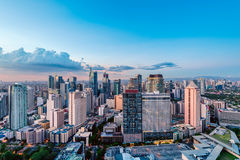 Makati skyline (Manila - Philippines). Eleveted, night view of Makati, the business district of Metro Manila royalty free stock photography