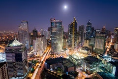 Makati Skyline, Manila, Philippines. Makati Skyline at night. Makati is a city in the Philippines` Metro Manila region and the country`s financial hub. It`s stock images