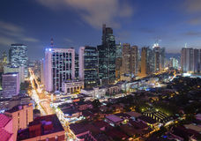 Makati Skyline, Metro Manila. Eleveted, night view of Makati, the business district of Metro Manila royalty free stock images