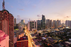 Makati Skyline, Metro Manila. Eleveted, night view of Makati, the business district of Metro Manila royalty free stock photography