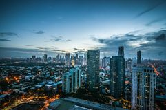 Makati skyline Phillippines. City of Makati Philippines skyline at dusk Stock Photography