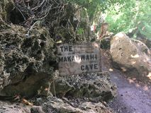The Makauwahi Cave Sign in Kauai royalty free stock image