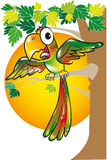 Makaw. Cartoon of a parrot perched on a tree branch Stock Images