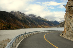 Make A Right Turn Bysides The Lake At The Tibet Royalty Free Stock Image