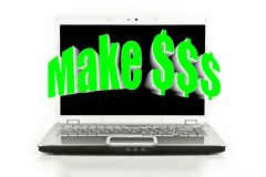 Make $$$ blasting off a laptop screen Stock Photo