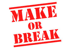 MAKE OR BREAK. Red Rubber Stamp over a white background Stock Image
