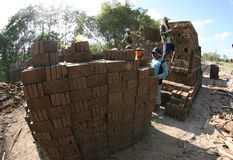 Make brickyard. Workers are doing brickyard in Boyolali, Central Java, Indonesia royalty free stock image