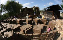 Make brickyard. Workers are doing brickyard in Boyolali, Central Java, Indonesia royalty free stock photos
