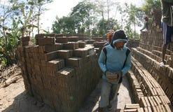 Make brickyard. Workers are doing brickyard in Boyolali, Central Java, Indonesia stock photos