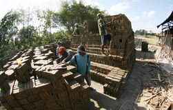 Make brickyard. Workers are doing brickyard in Boyolali, Central Java, Indonesia royalty free stock images