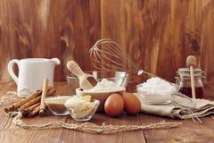 Make a cake. Ingredients to make a cake royalty free stock photo