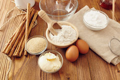 Make a cake. Ingredients to make a cake Stock Images