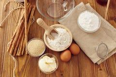 Make a cake. Ingredients to make a cake stock image